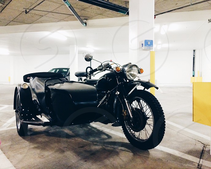 vintage motorcycle and side car photo