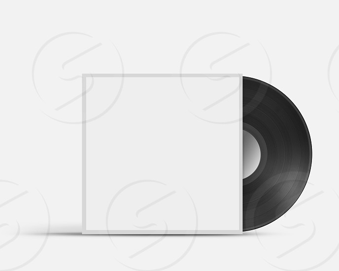 Vinyl record in blank cover envelope isolated on white photo