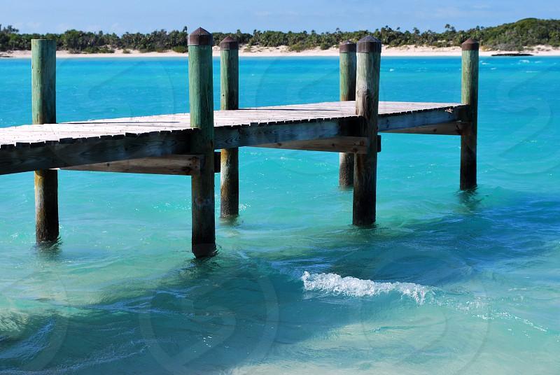 carribbean bahamas exumas dock blue water paradise sampson cay photo