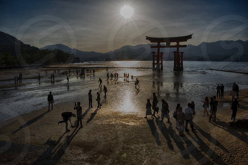 low saturation photo of people on gray surface with torii gate and body of water during daytime photo