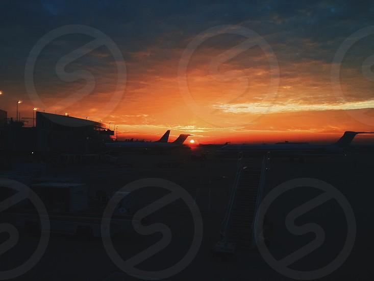 Austin Airport Sunrise Between Planes photo