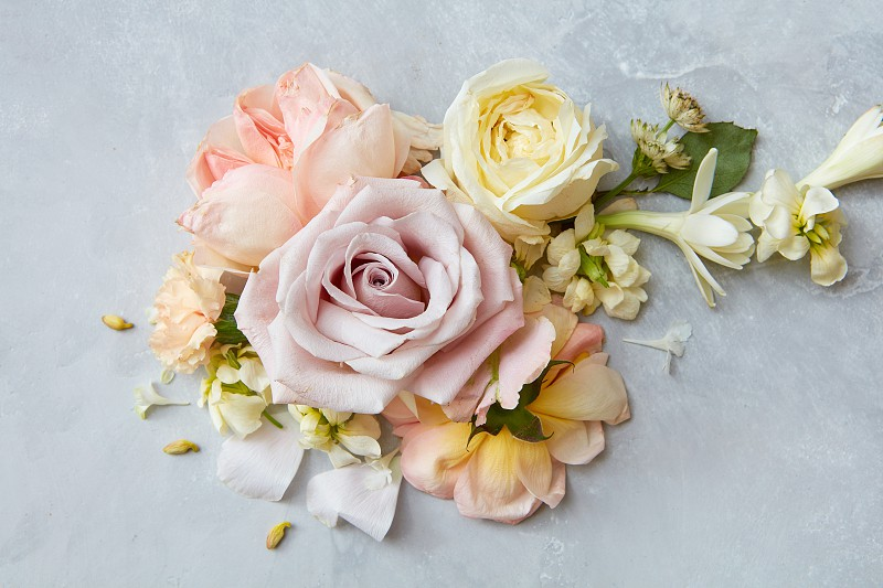 beautiful bouquet of flowers on a concrete background photo