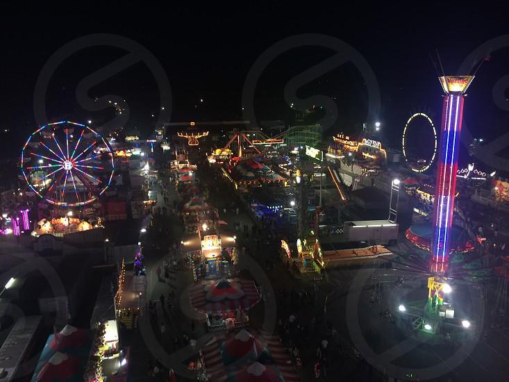amusement park at night photo