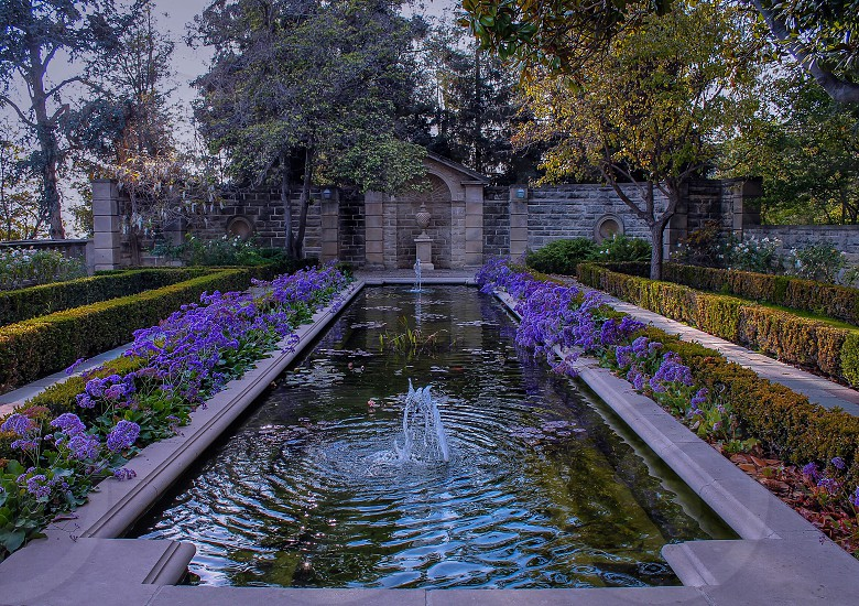 view of flower garden and fountain photo