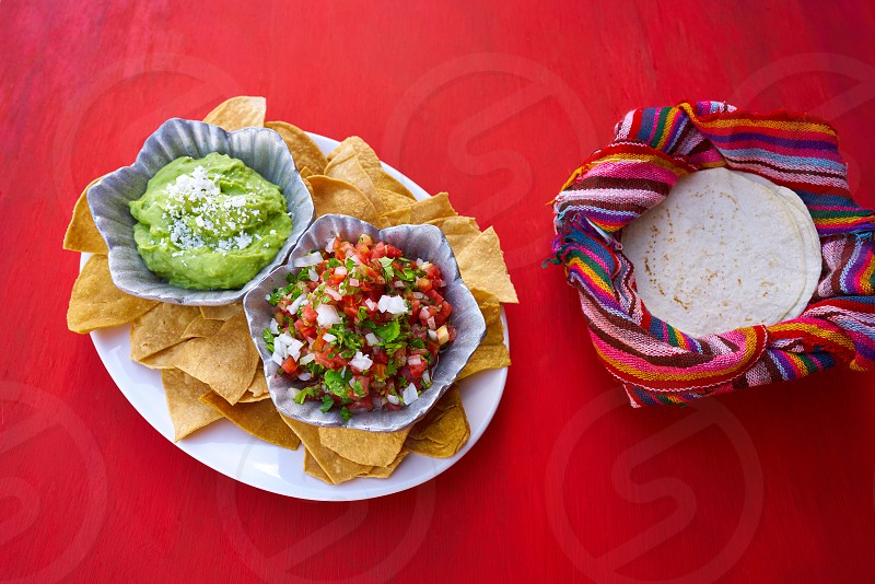 Mexican guacamole and pico de gallo sauces from Mexico photo