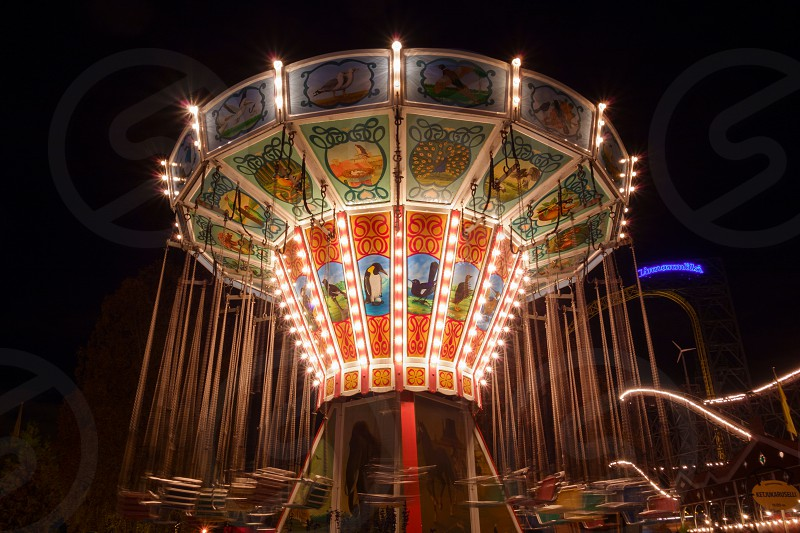 Ketjukaruselli ride at the Linnanmäki amusement park in Helsinki Finland on 18 October 2014.  photo