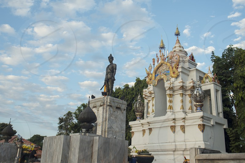 the Ngam Muang Monument at the lake of Kwan Phayao in the city of Phayao in North Thailand. photo