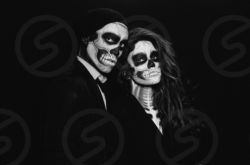 couple with skull makeups photo
