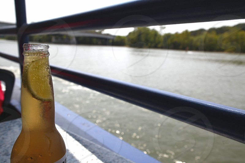 Lager with a wedge of lime Potomac River Washington. photo