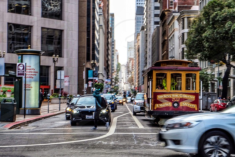 San Francisco City Bay Area Northern California USA street hustle bustle cars traffic  photo