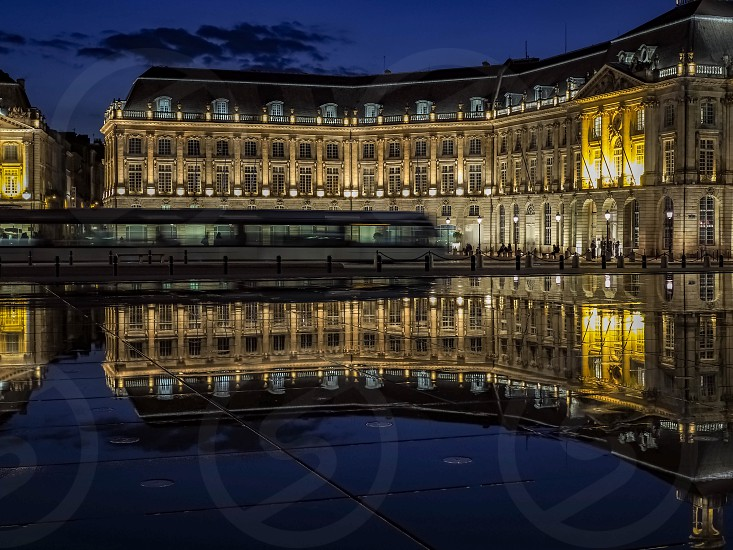 Miroir d'Eau at Place de la Bourse in Bordeaux photo