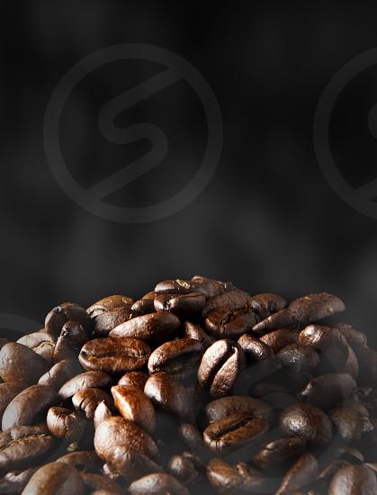 Coffee beans with smoke photo