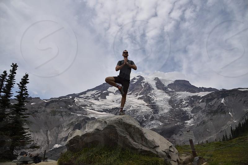 Namaste mountain yoga photo