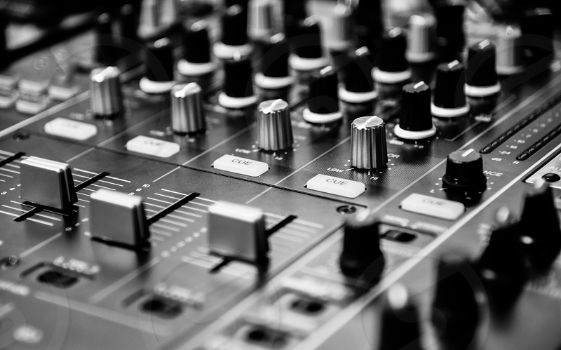 grayscale photo of audio editing equipment photo