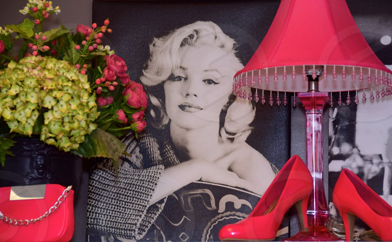 Icons of femininity for PinkTober. Marilyn & Audrey styled with pink accessories photo