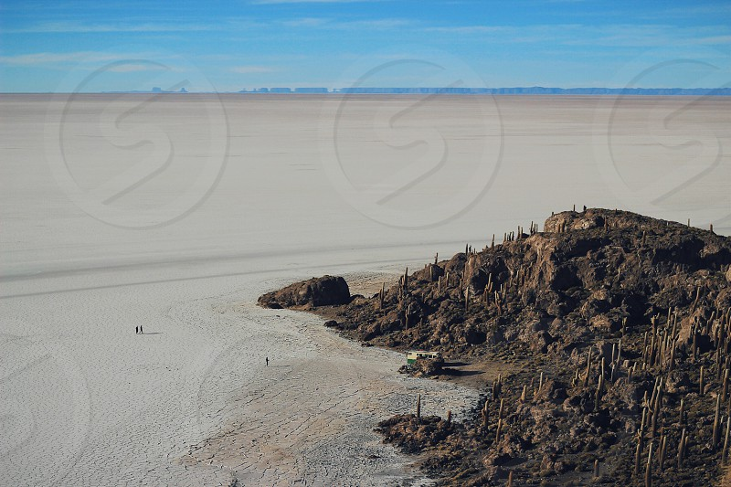 Salt plains from Isla de Pescado photo
