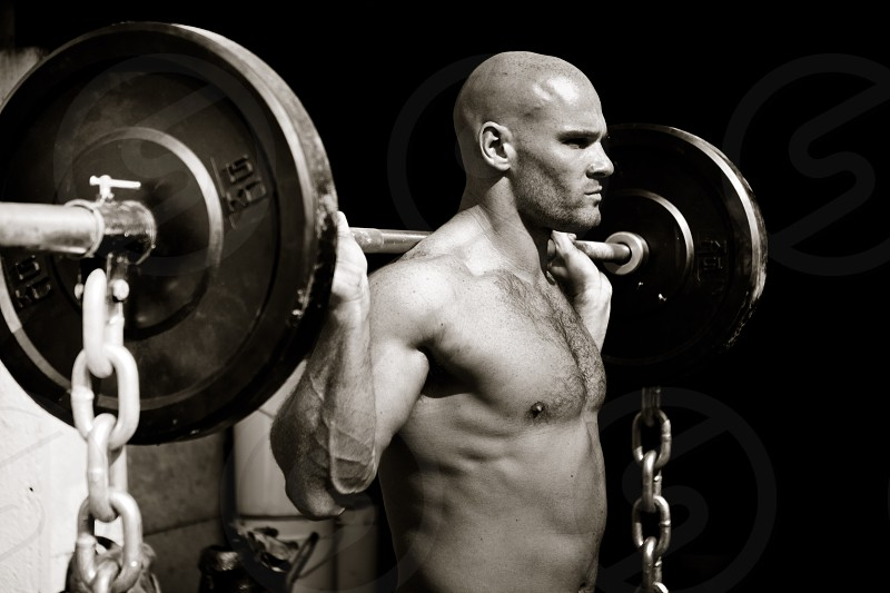 Workout. Weightlifting.  photo