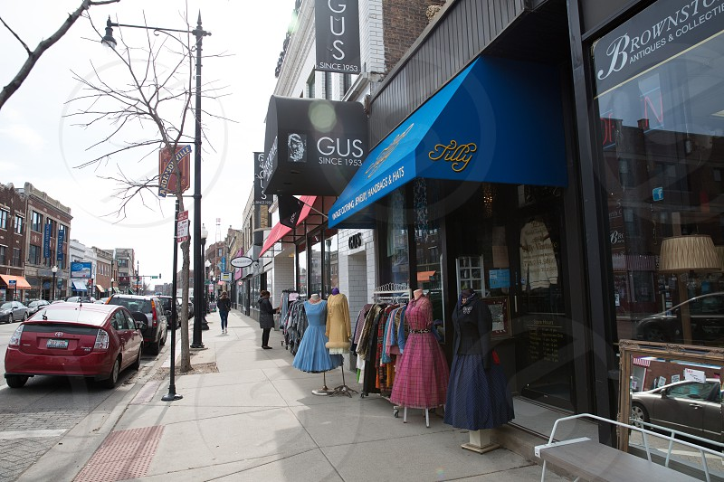 The Andersonville neighborhood of Chicago IL.  There are many retail and resale shops where you can find vintage goods along Clark. photo