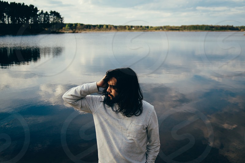 Man with long hair photo