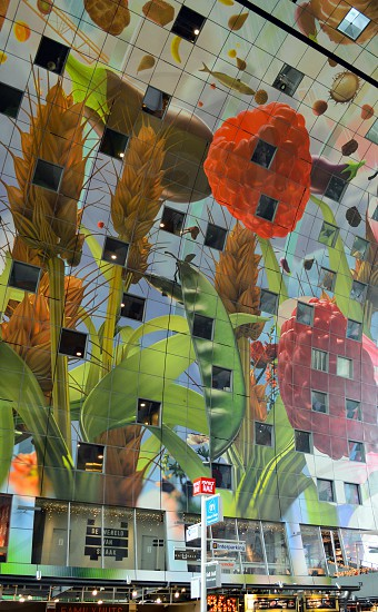 architectural photo of red green and orange flowers painting photo