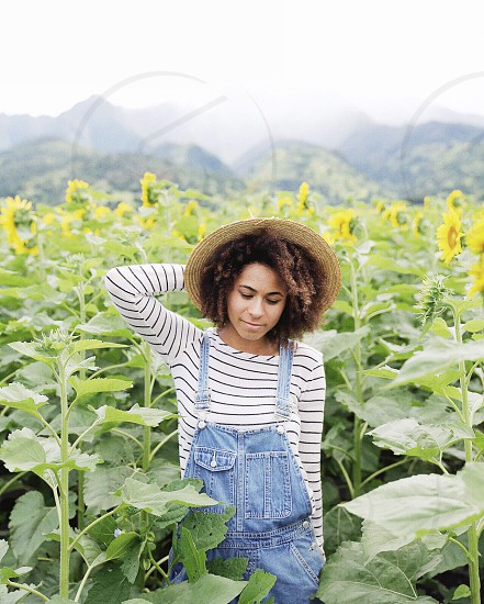 woman standing in sunflower field photo