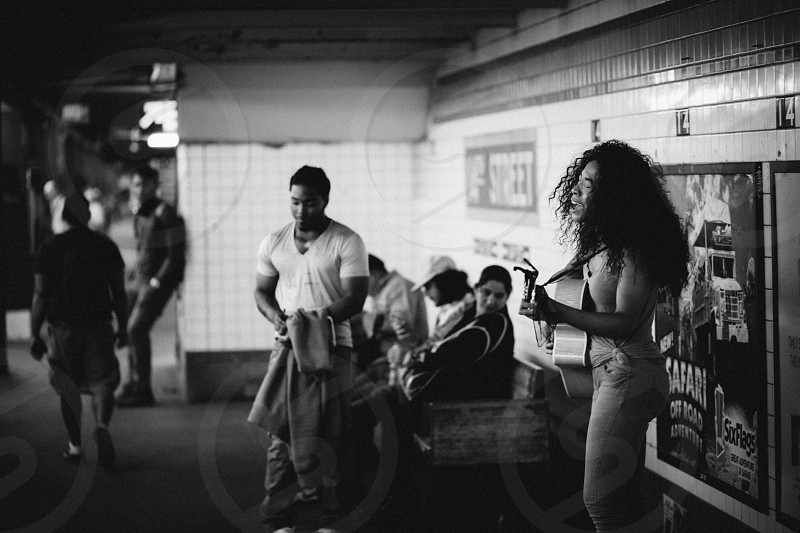 Street performer in the NYC subway station. (And killing it). photo