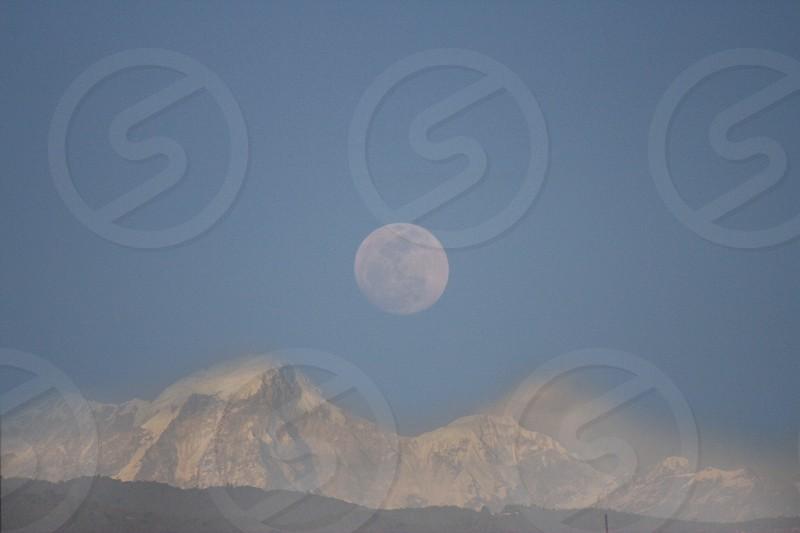 Moon Mountain snow fullmoon rising moon  photo