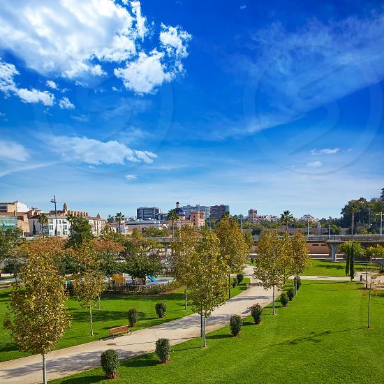 Valencia Turia river park gardens and skyline in Spain photo