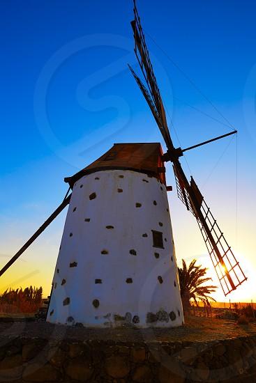 Windmill El Cotillo Fuerteventura at Canary Islands of Spain photo