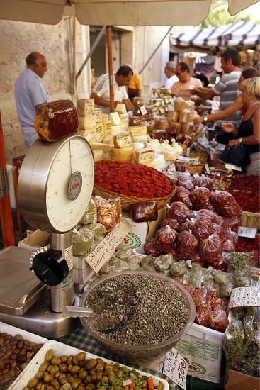 the market in the old Town of Siracusa in Sicily in south Italy in Europe. photo