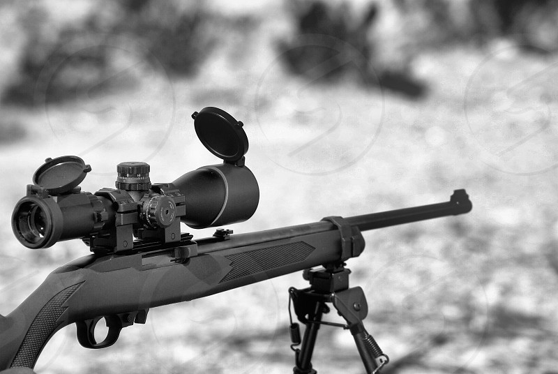 Learn gun safety 22 LR with bipod and scope photo