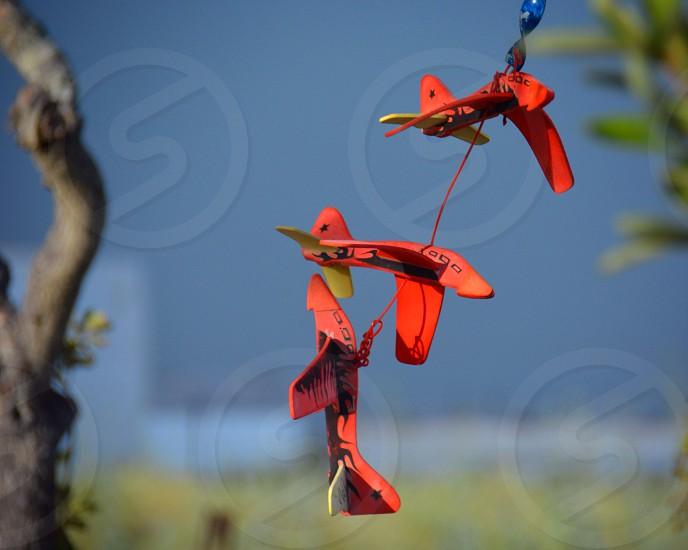 Orange plane toys tree blowing wind trinket blue photo