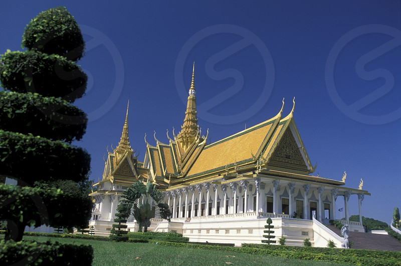 the king palace in the city of phnom penh in cambodia in southeastasia.  photo