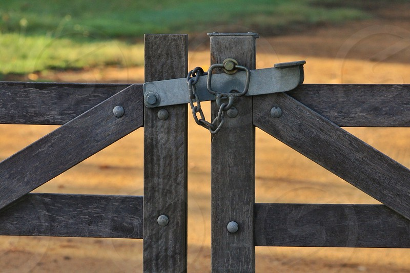 Gate lock chain wood bolt timber farm country living photo