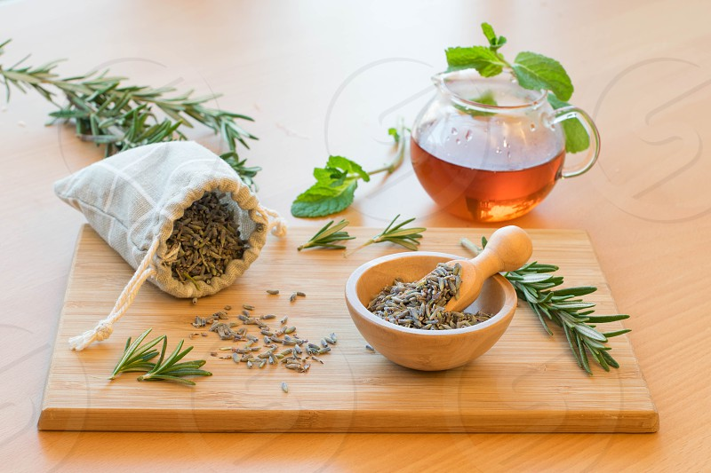Lavender potpurri herbs and herbal tea for relaxation. photo
