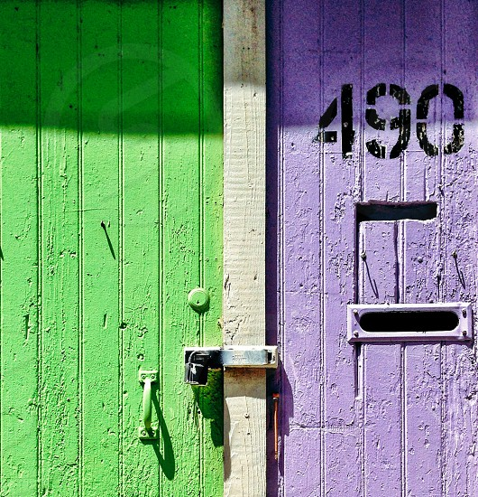 Green and purple wall photo