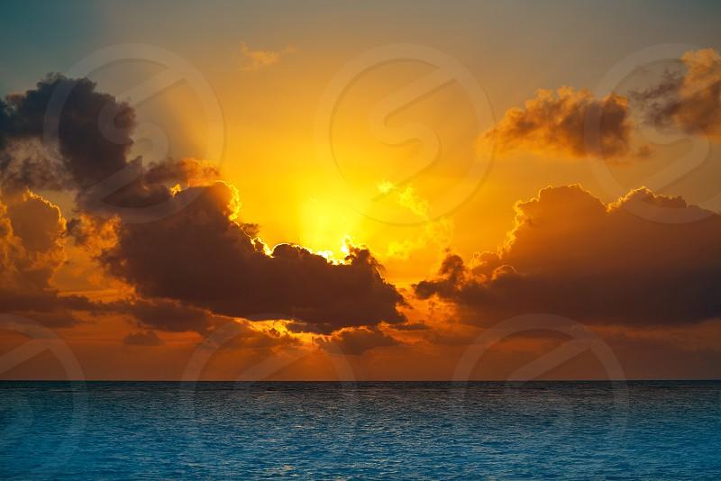 Riviera Maya sunrise beach at Mayan Mexico photo