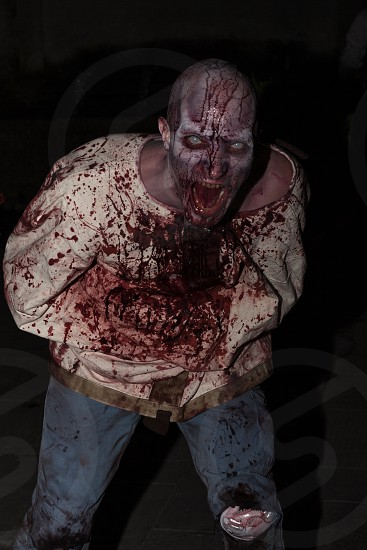 man wearing bloody straight jacket and zombie makeup prosthetic photo