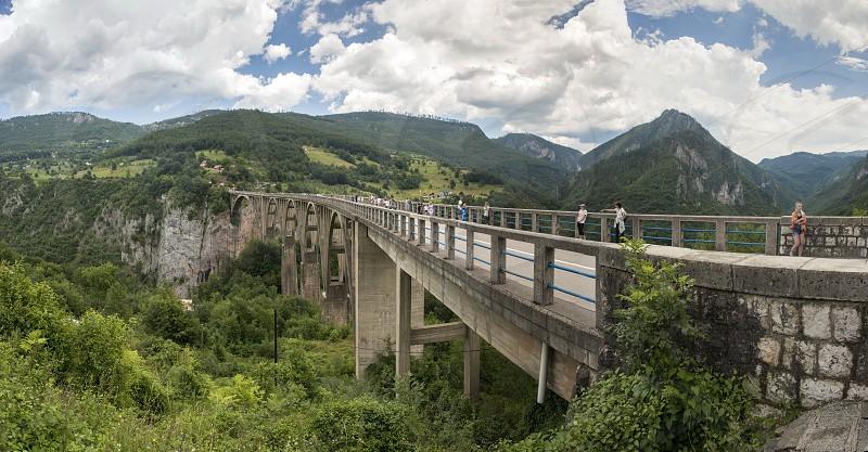 Tara river Montenegro - 07.16.2018. Panoramic view of Djurdjevic Bridge and Tara River canyon in Durmitor National Park Montenegro. photo