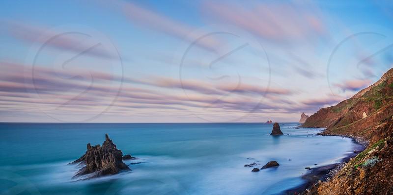 Nature Tenerife sunset sea landscape  photo