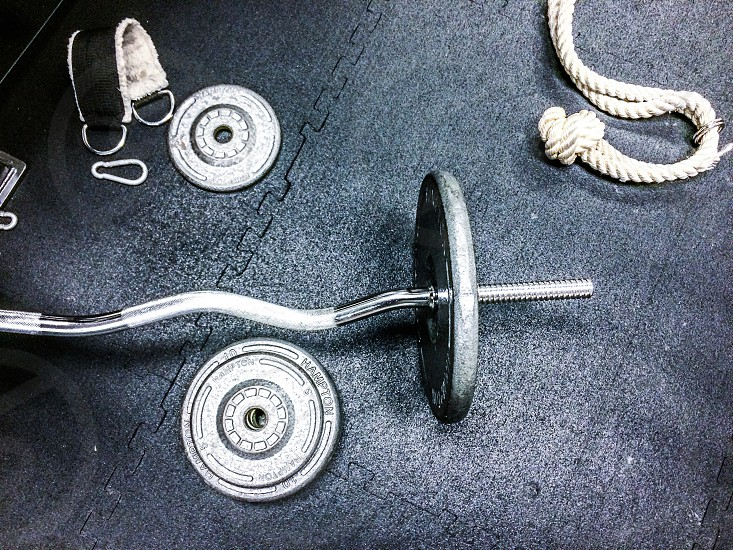 Gym fitness workout barbells weights photo