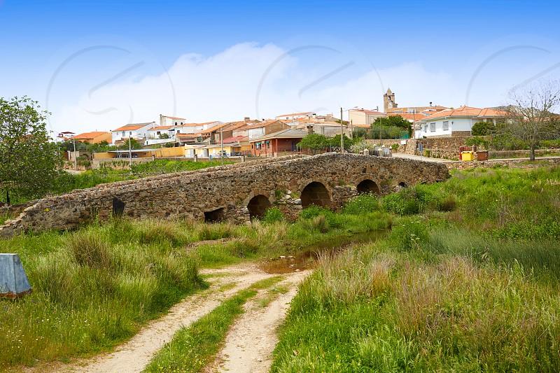 Casas de Don Antonio bridge at Via de la Plata way Extremadura of spain photo