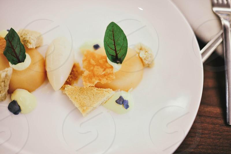 gourmet dessert on a white plate photo
