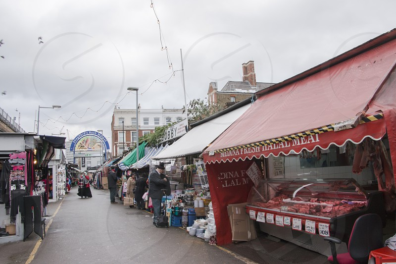 Sheperd's Bush Green Market stalls in London. photo