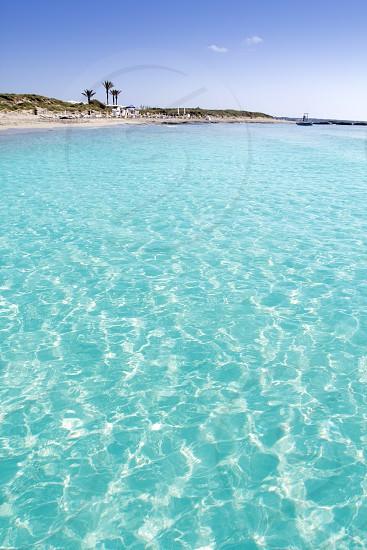 Illetas illetes turquoise beach shore Formentera in Spain balearic islands photo