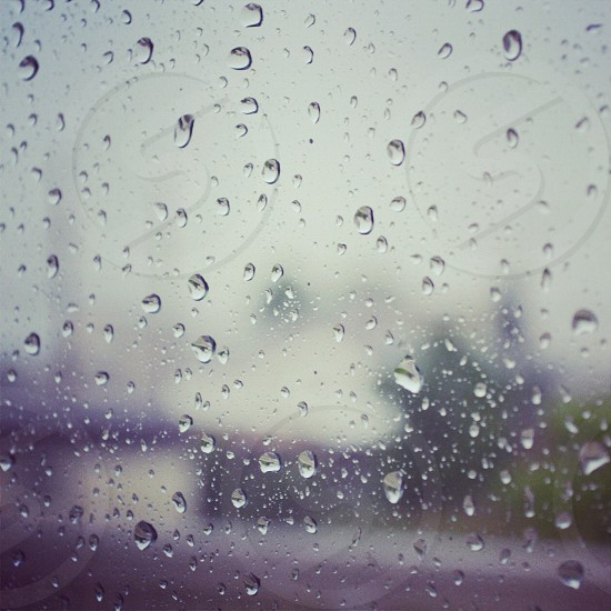 clear water droplets on window photo