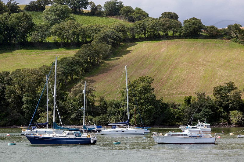 Boats Moored on the River Dart photo