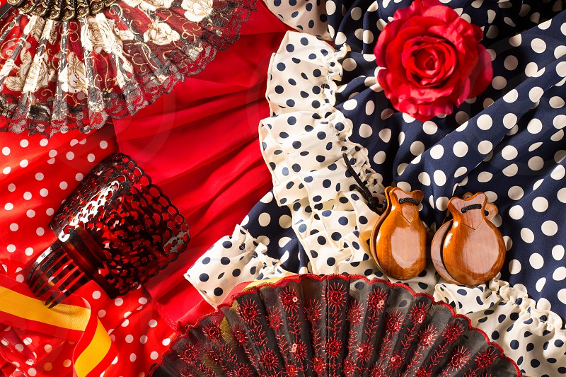 Espana typical from Spain with castanets rose fan and flamenco comb and dress photo