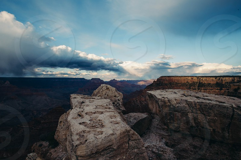 Passing clouds at Sunset Grand Canyon.  photo