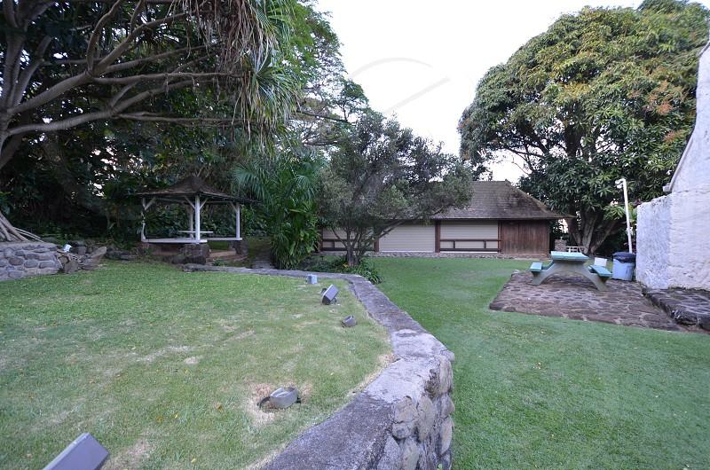 Bailey House Museum back yard Maui Hawaii Hawaiian antiquities collection missionary plantation era artifacts historical society photo
